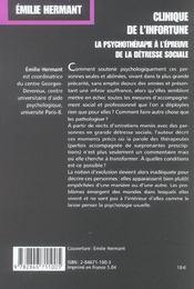 Clinique De L'Infortune. La Psychotherapie A L'Epreuve De La Detresse Sociale - 4ème de couverture - Format classique