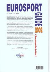 Eurosport guide ; edition 2002 - 4ème de couverture - Format classique