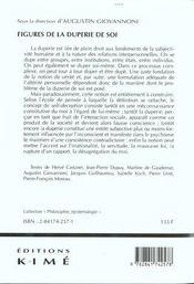 Figures De La Duperie De Soi - 4ème de couverture - Format classique