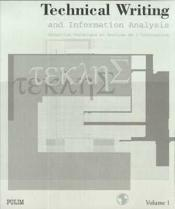 Technical Writing And Information Analysis/Redaction Technique Et Ana Lyse De L'Information - Couverture - Format classique