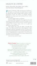 Cruaute De L'Intime - 4ème de couverture - Format classique
