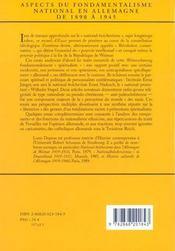 Aspects Fondamentalisme National En Allemagne 1890 1945 Et Essais Complementaires. - 4ème de couverture - Format classique