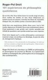 101 Experiences De Philosophie Quotidienne - 4ème de couverture - Format classique