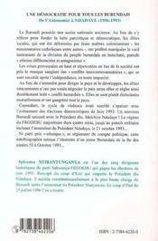 Une démocratie pour tous les burundais t.1 ; de l'autonomie à ndadaye, 1956-1993 - 4ème de couverture - Format classique