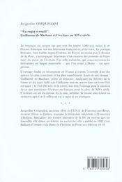 Un Engin Si Soutil. Guillaume De Machaut Et L'Ecriture Au Xive Siecle. Le Livre Du Voir Dit. - 4ème de couverture - Format classique