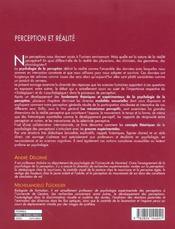 Perception Et Realite - 4ème de couverture - Format classique
