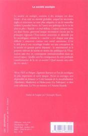 La societe assiegee - 4ème de couverture - Format classique