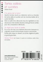 Le Petit Livre De Cuisine ; Des Tartes Salées Et Sucrées - 4ème de couverture - Format classique
