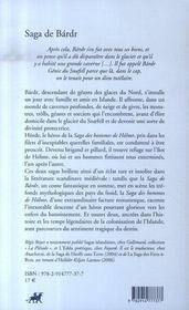Saga de Bárdr ; saga des hommes de Hólmr - 4ème de couverture - Format classique