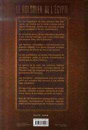 Le roi-Soleil de l'Egypte ; les memoires d'Amenophis III, le plus glorieux des pharaons - 4ème de couverture - Format classique