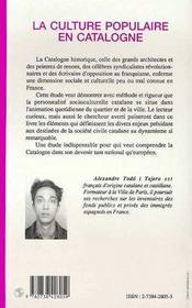 La Culture Populaire En Catalogne - 4ème de couverture - Format classique
