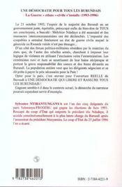 Une démocratie pour tous les burundais t.2 ; la guerre ethno-civile s'installe, 1993-1996 - 4ème de couverture - Format classique