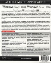Windows Server 2003 et Windows Server 2008 t.1 ; la bible - 4ème de couverture - Format classique