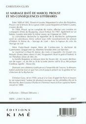 Mariage rate de marcel proust (le) - 4ème de couverture - Format classique