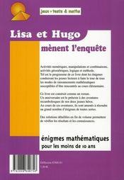 Lisa et Hugo mènent l'enquête - 4ème de couverture - Format classique