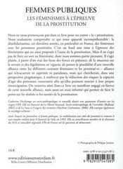 Femmes publiques ; les féminismes à l'épreuve de la prostitution - 4ème de couverture - Format classique