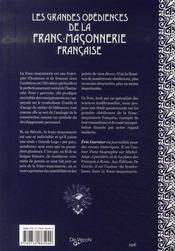 Les grandes obédiences de la franc-maçonnerie française - 4ème de couverture - Format classique