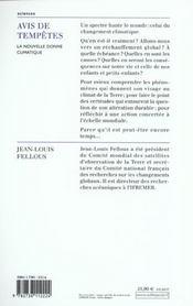 Avis De Tempetes - 4ème de couverture - Format classique