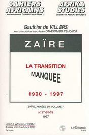 Zaïre ; la transition manquée 1990-1997 - Intérieur - Format classique