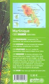 Geoguide ; Martinique (Edition 2003/2004) - 4ème de couverture - Format classique