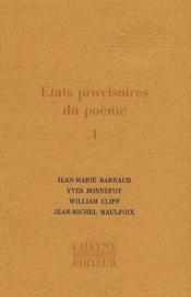 Etats provisoires du poeme t.1 - Couverture - Format classique