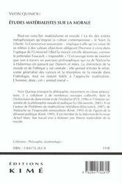 Etudes Materialistes Sur La Morale - 4ème de couverture - Format classique