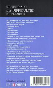 Dictionnaire des difficultes poche usuels - 4ème de couverture - Format classique