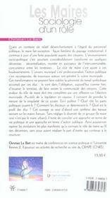 Maires, Sociologie D'Un Role - 4ème de couverture - Format classique