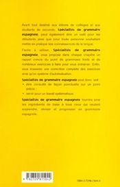Specialites De Grammaire Espagnole - 4ème de couverture - Format classique