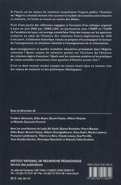 La France et l'Algérie : leçons d'histoire ; de l'école en situation coloniale à l'enseignement du fait colonial - 4ème de couverture - Format classique