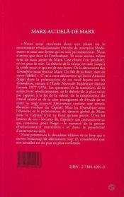 Marx Au-Dela De Marx - 4ème de couverture - Format classique