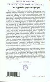 Bilan Personnel Et Insertion Professionnelle - 4ème de couverture - Format classique