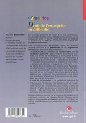 Memento - droit de l'entreprise en difficulte - 4ème de couverture - Format classique
