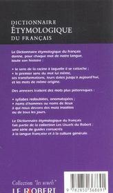 Dictionnaire etymologique poche usuels - 4ème de couverture - Format classique