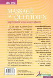 Massage Au Quotidien - 4ème de couverture - Format classique