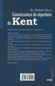 Connaissance du répertoire de kent - 4ème de couverture - Format classique