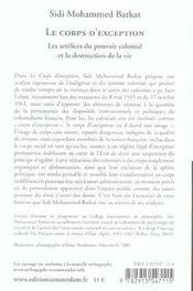 Corps D'Exception (Le) - 4ème de couverture - Format classique