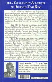 De La Colonisation Allemande Au Deutsche-Togobund - 4ème de couverture - Format classique
