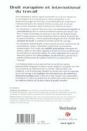 Guide Des Relations Europeennes Et Internationales De Travail - 4ème de couverture - Format classique