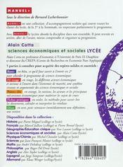 Economie lycee - sciences economiques et sociales - 4ème de couverture - Format classique