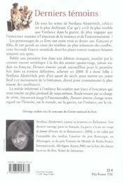 Derniers Temoins - 4ème de couverture - Format classique