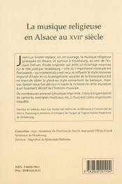 La Musique Religieuse En Alsace Au 17e Siecle - 4ème de couverture - Format classique