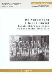 De Nuremberg A La Loi Huriet Essais Therapeutiques Et Recherche Medicale - Intérieur - Format classique