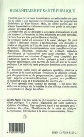 Humanitaire Et Sante Publique - 4ème de couverture - Format classique