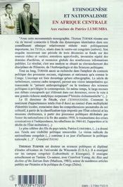 Ethnogenese Et Nationalisme En Afrique Centrale ; Aux Racine De Patrice Lumumba - 4ème de couverture - Format classique