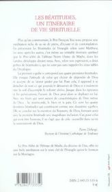 Beatitudes Un Itineraire De Vie Spitiruelle - 4ème de couverture - Format classique