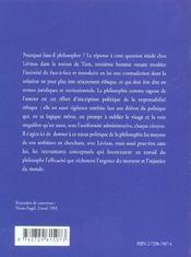 Politique De L'Autre Homme Levinas Et La Fonction Politique De La Philosophie - 4ème de couverture - Format classique