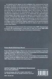 Histoire et enseignement des mathématiques ; rigueurs, erreurs, raisonnements - 4ème de couverture - Format classique