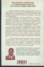 Politiques Agricoles Et Promotion Rurale Au Congo-Zaire, 1885-1997 - 4ème de couverture - Format classique