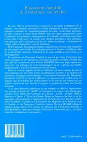 Placement familial et évolutions societales - 4ème de couverture - Format classique